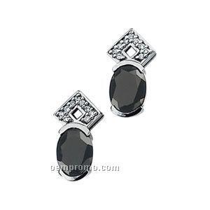 14kw Genuine Onyx And Diamond Earrings