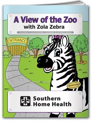 Action Pack Coloring Book W/ Crayons & Sleeve - A View Of The Zoo