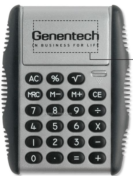 Kinetic Calculator W/ Rubber Grip Sides & Flip Stand (Silver)