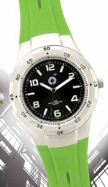 Unisex Matte Silver Watch W/ Lime Green Rubber Strap