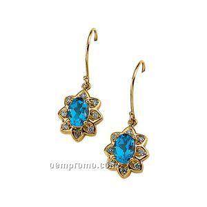 14ky Genuine Topaz And 1/5 Ct Tw Diamond Earrings
