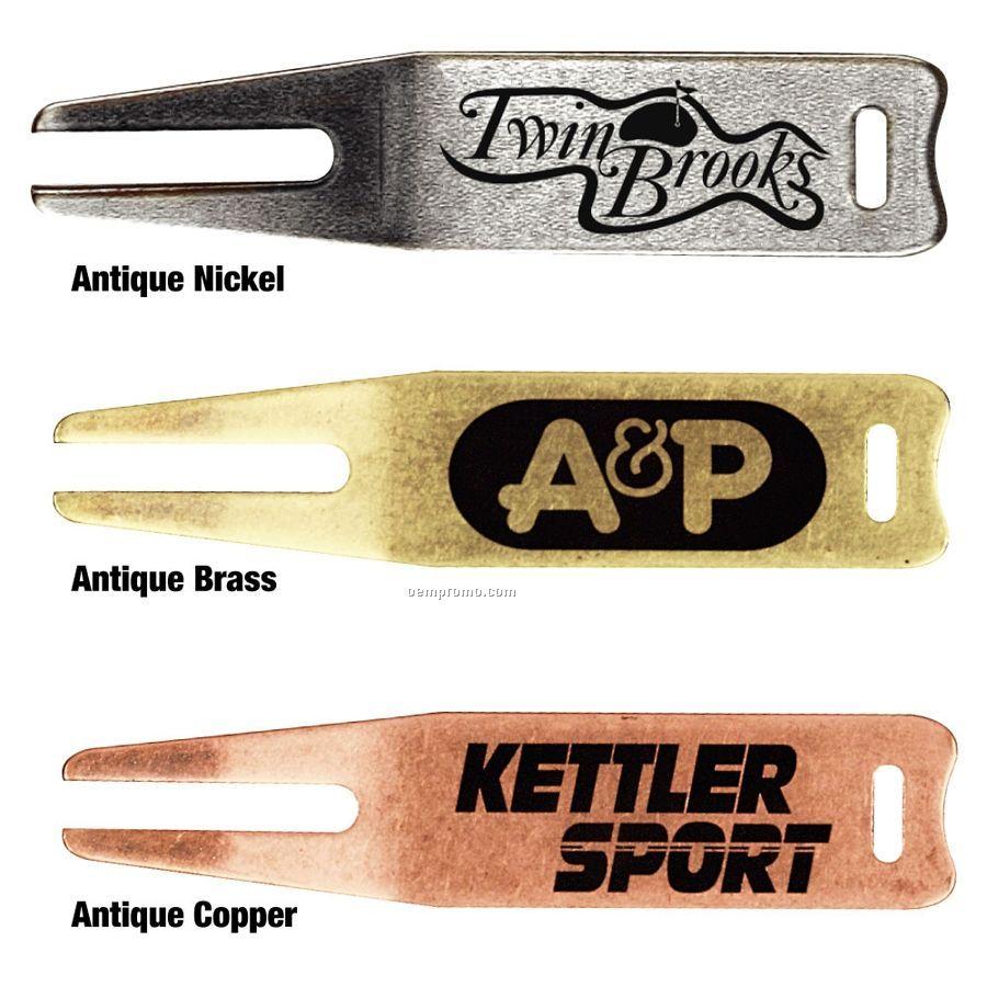 Antique Metal Bent Fork Divot Repair Tool
