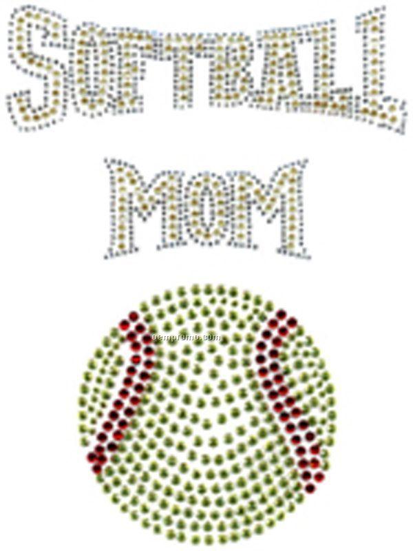 Rhinestone Transfer Softball Mom