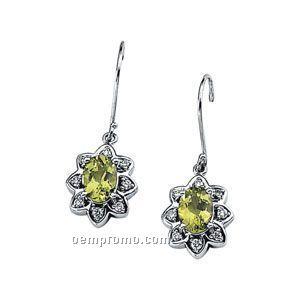 14kw Genuine Peridot And Diamond Earrings
