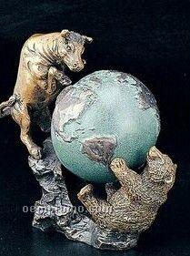 Bronze Bull & Bear Fight W/ Globe Sculpture