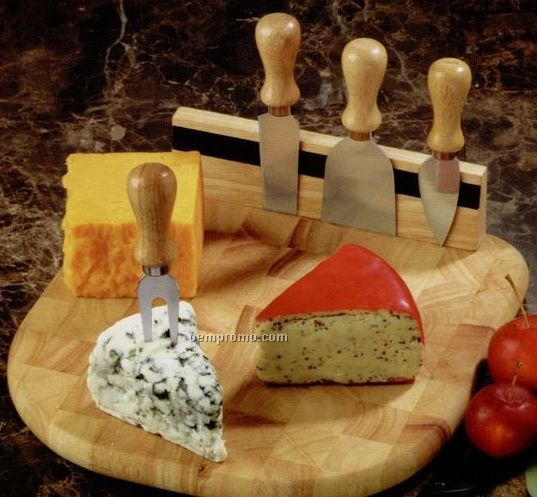 Butcher Block End Grain Board With 4 Cheese Knives