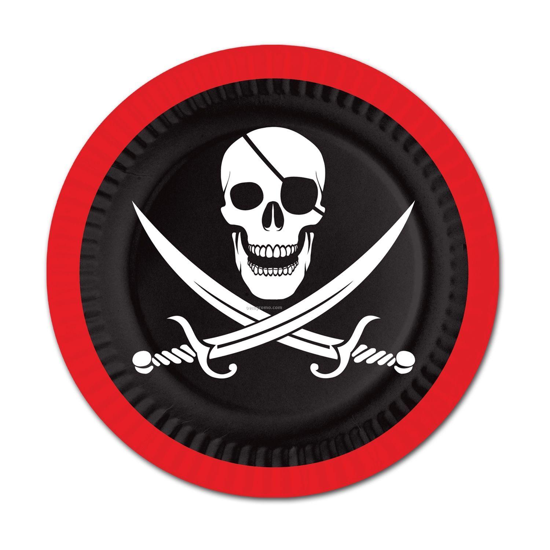 Pirate Plates W/ Skull & Crossed Cutlasses