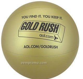 "16"" Inflatable Solid Metallic Gold Beach Ball"