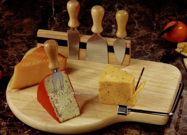 Beechwood Board With 4 Cheese Knives & Wire Slicer Arm