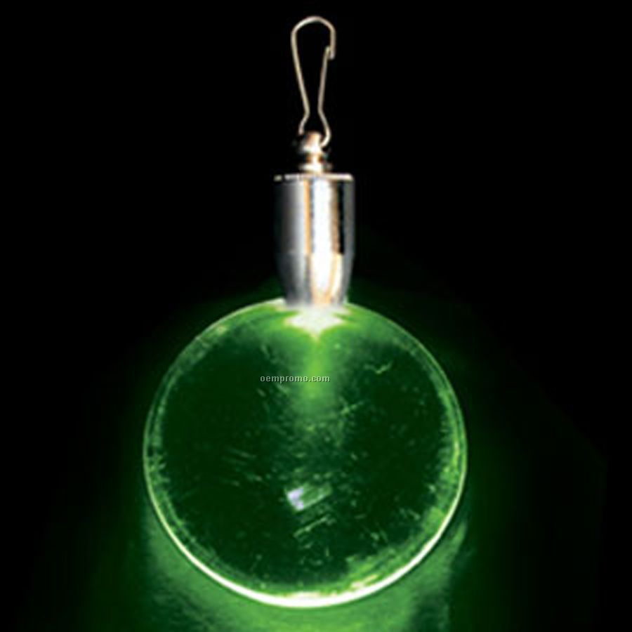 Light Up Pendant With Clip - Round - Green LED
