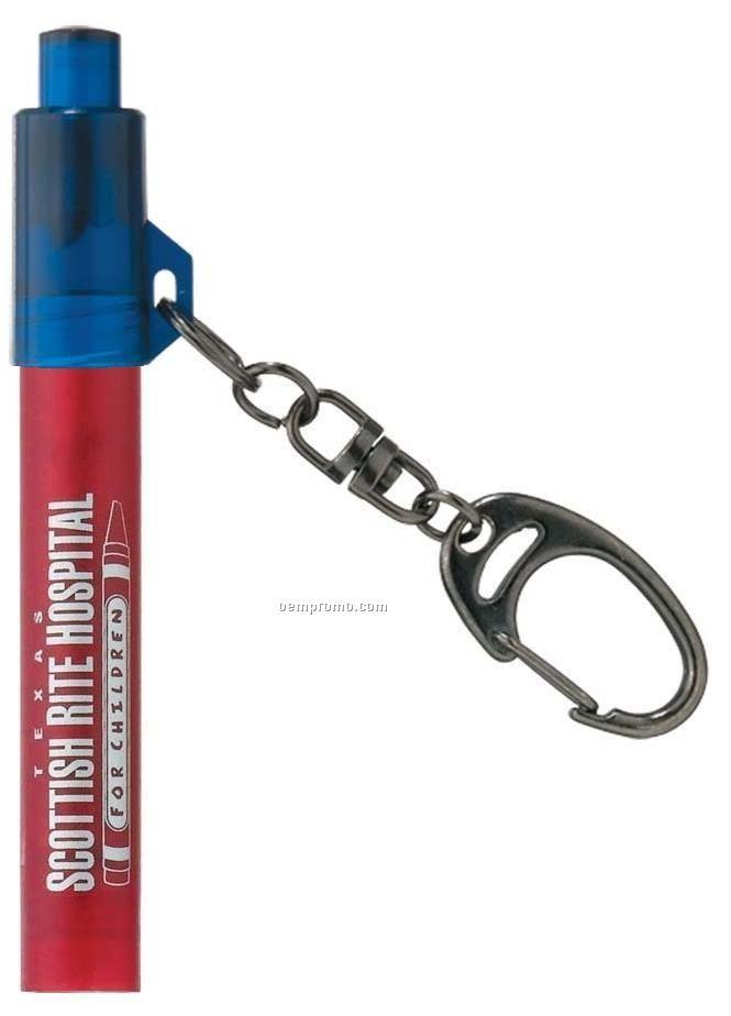 Red Flashlight Keychain W/ Sapphire Blue Switch