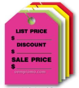 "V-t Fluorescent Mirror Hang Tag - List Price/ Sale Price (9""X12"")"