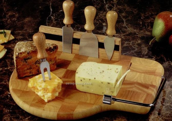 Butcher Block End Grain Board With 4 Cheese Knives Amp Wire