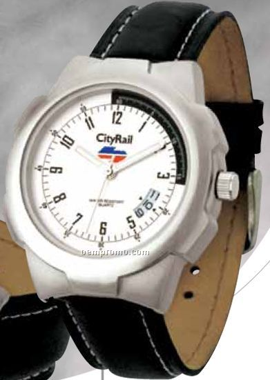 Unisex Matte Silver Sport Watch W/ Date Display & Genuine Leather Strap