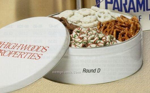 16 Oz. Custom Round Mini Pretzels Tin