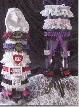 2 Color Custom Single Bottom Laced Leg Garter W/ Imprint Ribbon