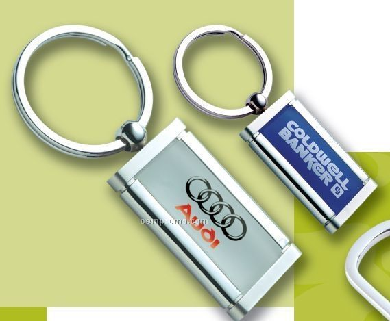 Acrylic Rectangle Key Ring Swivel W/ Split Ring