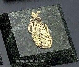 Green Marble Gold Plated Golf Paperweight