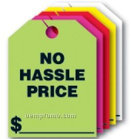 "V-t Fluorescent Mirror Hang Tag - No Hassle Price (9""X12"")"