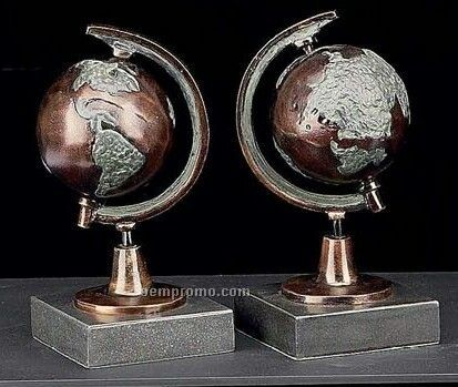 Bronzed Globe Book Ends On Marble Base