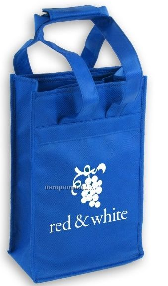 Recyclable 2 Wine Bottle Insulated Tote Bag