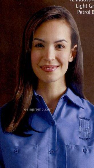 Petrol Blue Women's Short Sleeve Industrial Shirt
