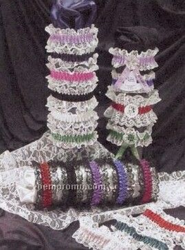 1 Color Double Laced Leg Garter W/ Rosette & Imprint Ribbon