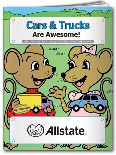 Action Pack Coloring Book W/ Crayons & Sleeve - Cars & Trucks Are Awesome
