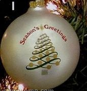 "Seasons Greetings Tree Swirl Stock Ornament Design I (3-1/4"")"