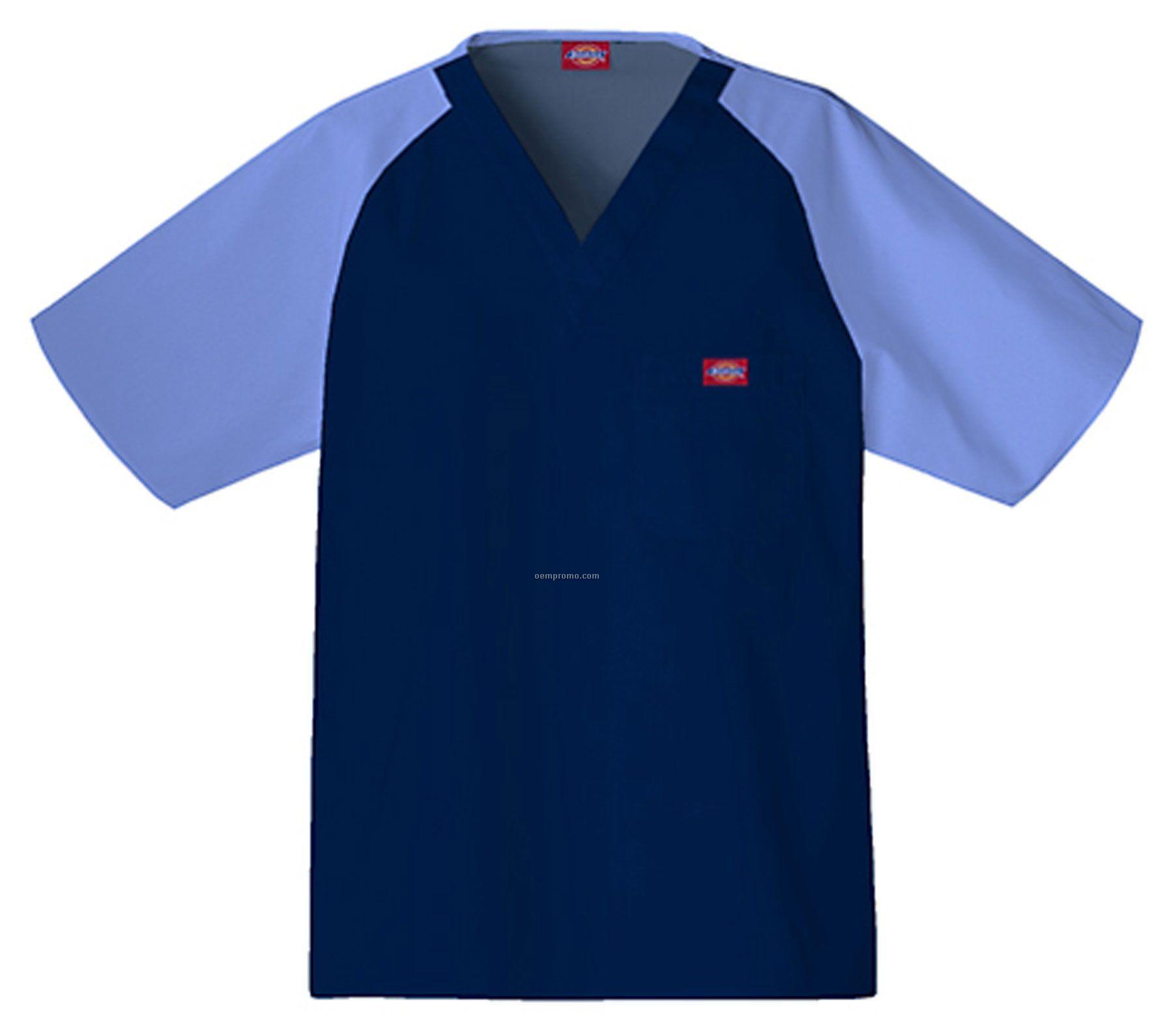 Dickies Men's Raglan Sleeve Color Blocks Scrub Top