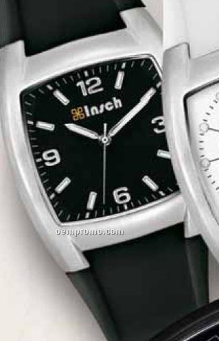 Unisex 38 Mm Metal Case Watch W/ Black Rubber Strap