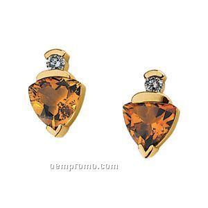 14ky Genuine Citrine And 1/5 Ct Tw Diamond Earrings