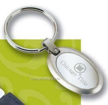 Oval Shiny Nickel Key Ring
