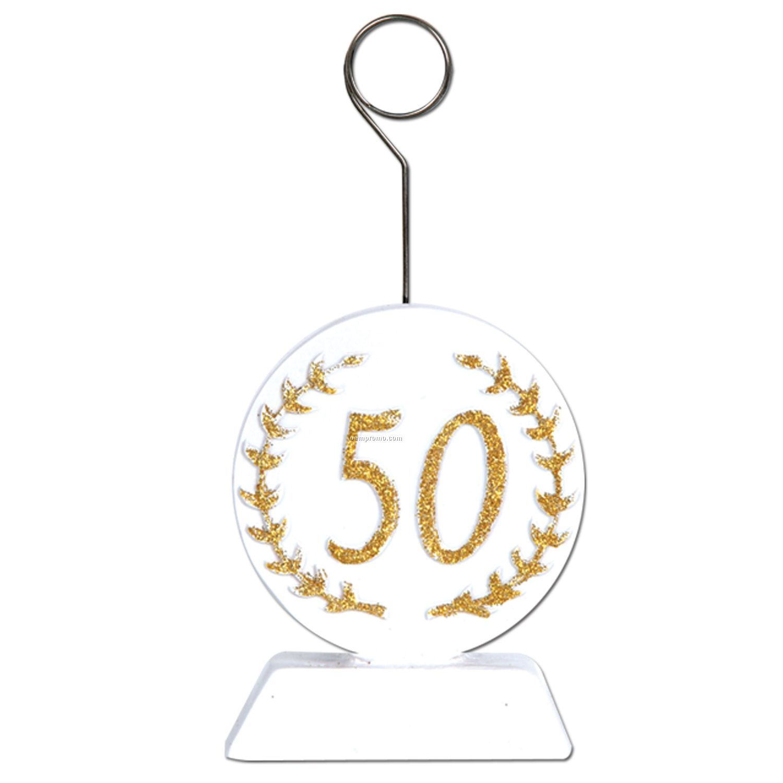 "Gold Glittered ""50"" Photo/ Balloon Holder"