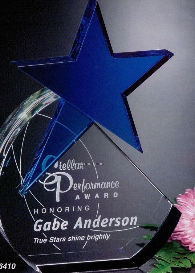 """Star Gallery Crystal Cerulean Star Award (9 3/4"""")"""