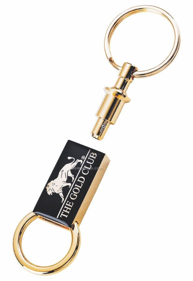 Gold Valet Rectangular Pull Apart Key Ring With Epoxy Dome