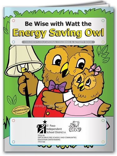 Fun Pack Coloring Book W/ Crayons - Be Wise With Watt The Energy Saving Owl
