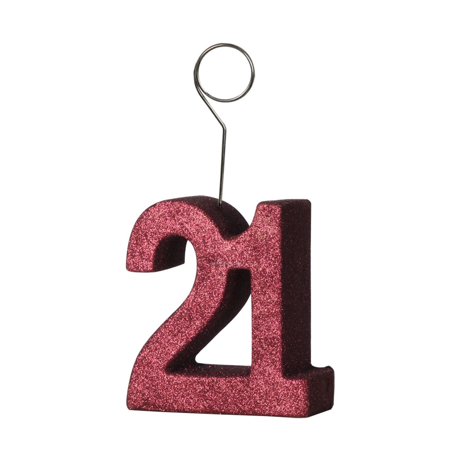 Red Glittered Number Photo/ Balloon Holder