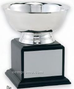 """Stainless Steel Revere Bowl Trophy W/ Black Wood Base (10""""X10 1/2"""")"""