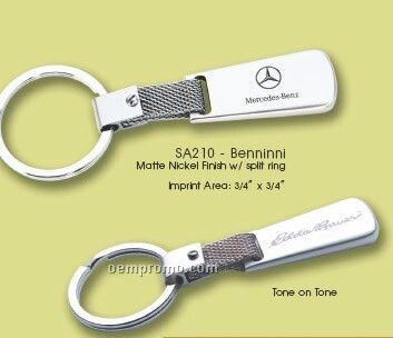 Benninni Matte Nickel Finish Key Ring W/ Split Ring (Dark Etched)