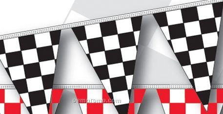 100' 4 Mil Triangle Checkered Race Track Pennant - Black/White