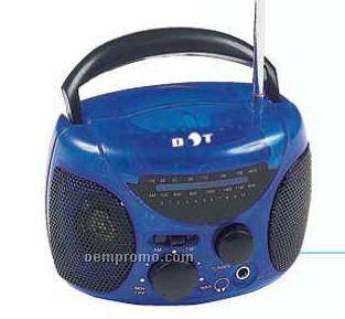 """4-3/4""""X3-1/2""""X3"""" Blue Mini AM/FM Boom Box Radio"""