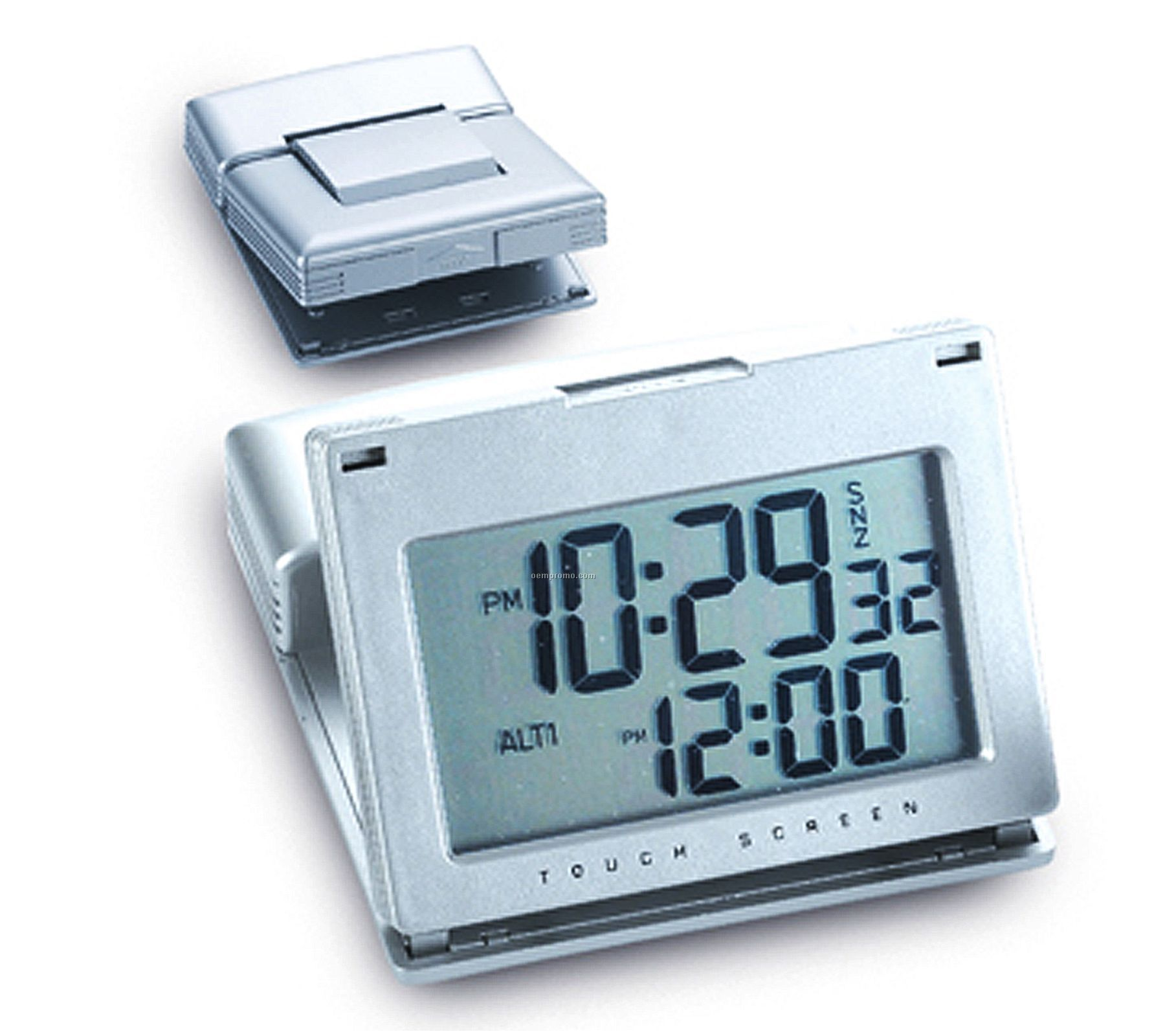 Matte Silver Touch Panel Travel Alarm Clock
