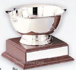 "Stainless Steel Revere Bowl Trophy W/ Walnut Finish Base (8""X6 1/2"")"