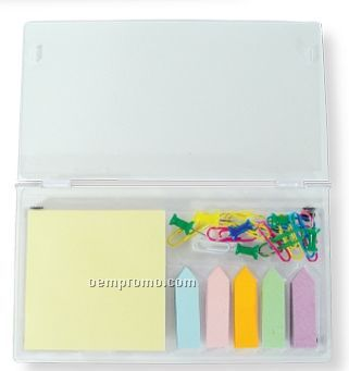 Sticky Note & Flag Set W/Paper Clips & Tacks (Printed)
