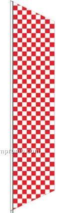 2 1/2'x8' Stock Zephyr Banner Drapes - Red/White Checker