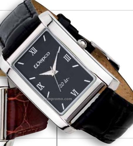 9d3eb38bf Watch Creations Ladies' Watch W/ Rectangle Black Face & Black Leather Strap