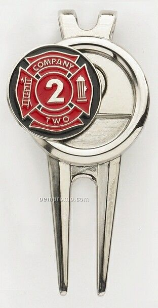 "Modern Divot Tool/ Money Clip W/ 1"" Die Struck Soft Enamel Ball Marker"