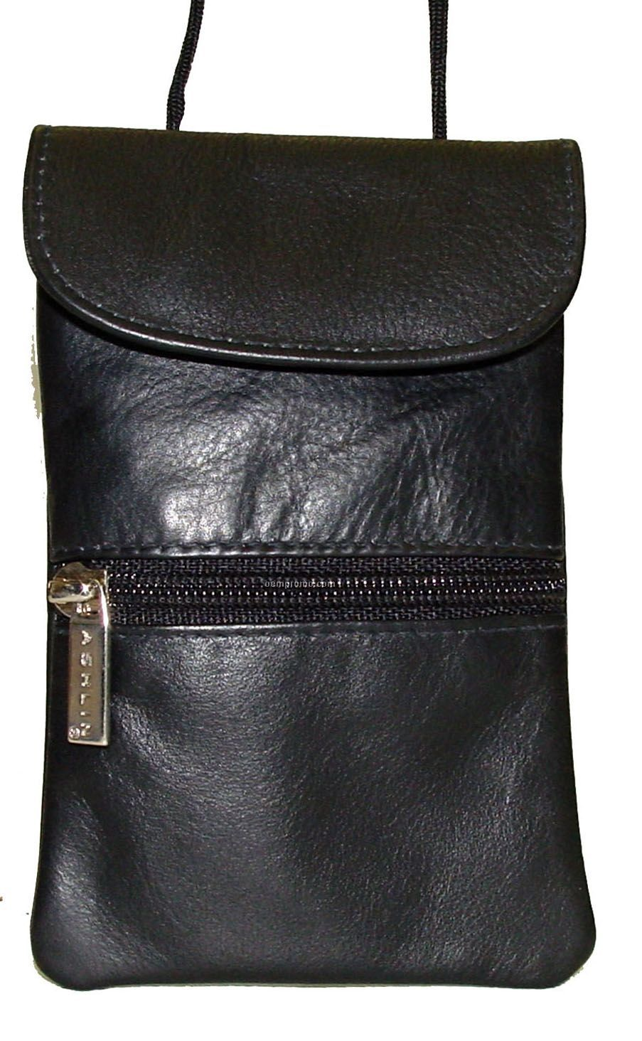 Black Cowhide Pouch W/ String Top Flap