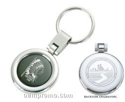 Round Swivel Rotating Split Key Ring W/ Black Metal Engraving